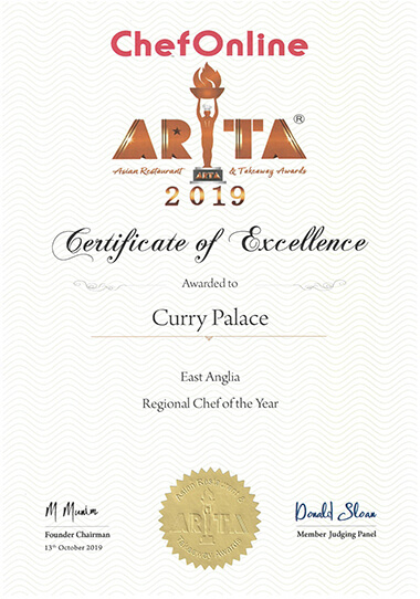 ARTA 2019 | East Anglia Region Best Chef of The Year Certificate Curry Palace