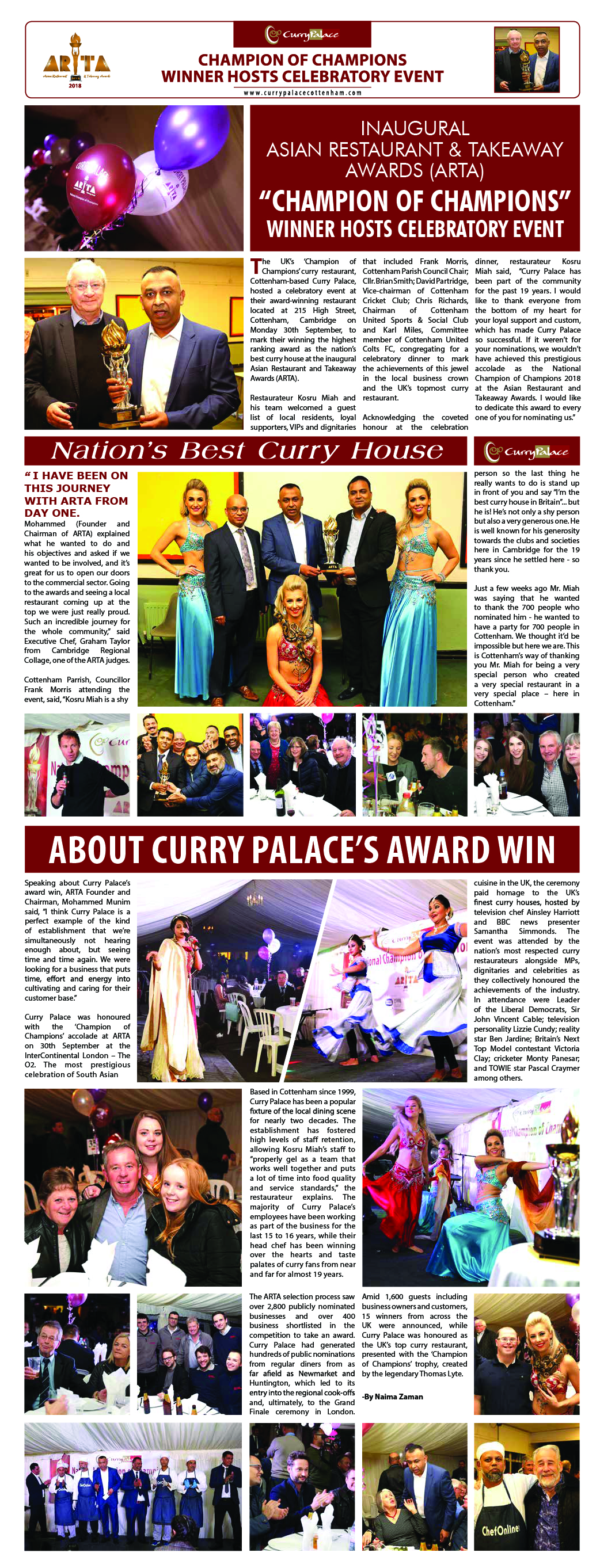 Press Release Of Curry Palace Indian Restaurant In